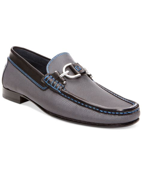 donald pliner loafers lyst donald j pliner dacio bit loafers in gray for