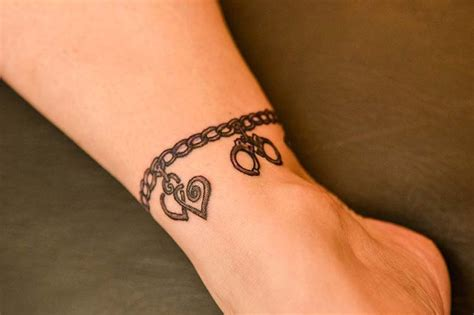 jewelry tattoo ankle charm bracelet ankle and foot tattoos