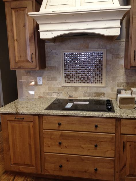 glass tile backsplash with travertine backsplash