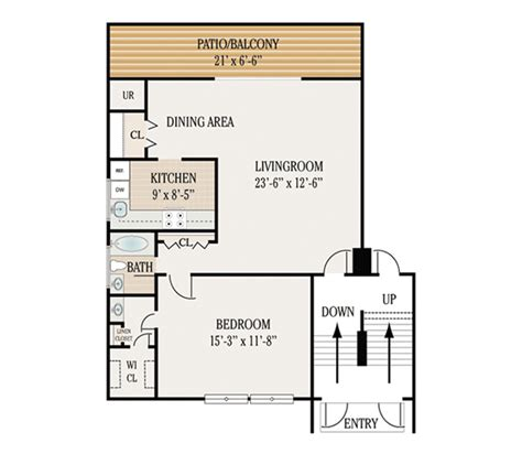 1 bedroom 1 5 bath apartment 1 bedroom 1 5 bath apartment floor plans floors doors