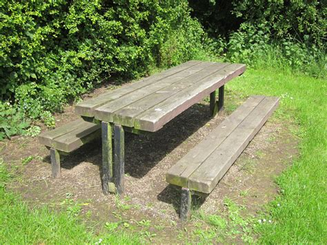 file wooden picnic table at rivacre country park jpg