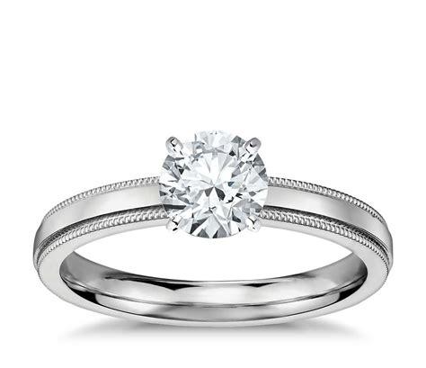 milgrain comfort fit solitaire engagement ring in platinum