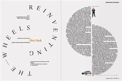 unique layout magazine reinventing the wheels editorial layout elon musk and