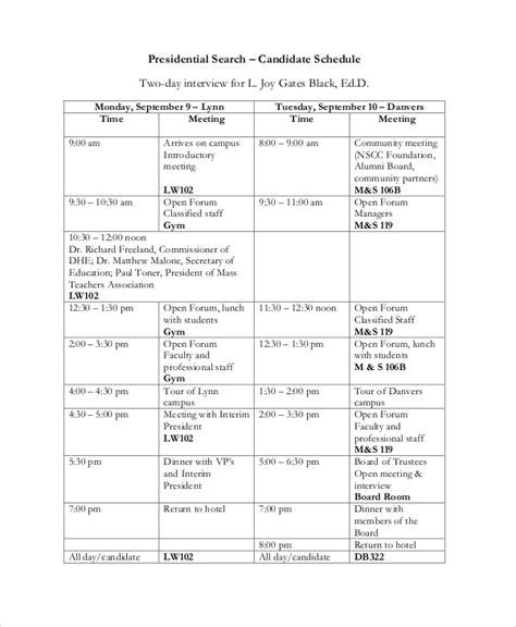 interview schedule template   word  documents  premium templates