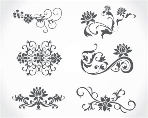 flower tattoo vector free stock vector floral vintage download free vector stock