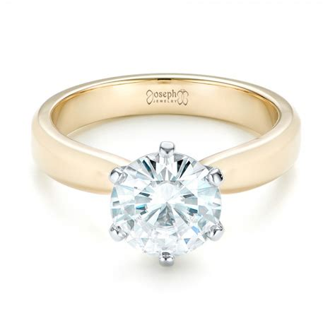 custom two tone solitaire engagement ring 103001