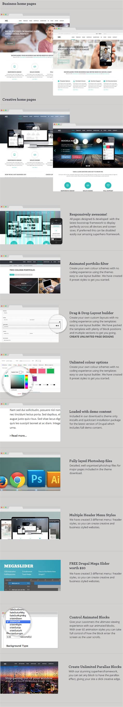 drupal theme user menu me multipurpose creative drupal theme by cmssuperheroes