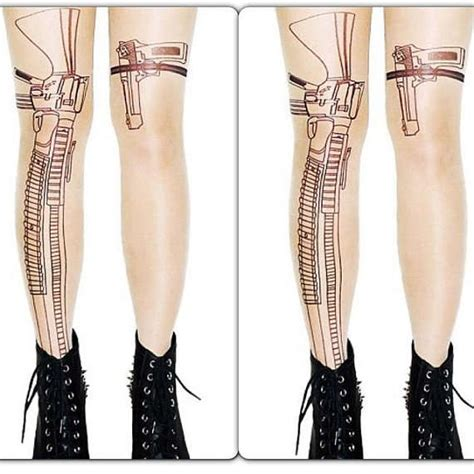 tattoo stockings weapon printed hosiery tights