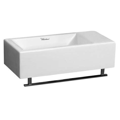 wall mount sink with towel bar whitehaus collection wall mounted bathroom sink