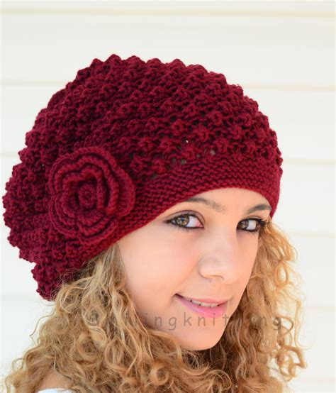 knit hat knitted hat burgundy knit hatslouchy hat beret