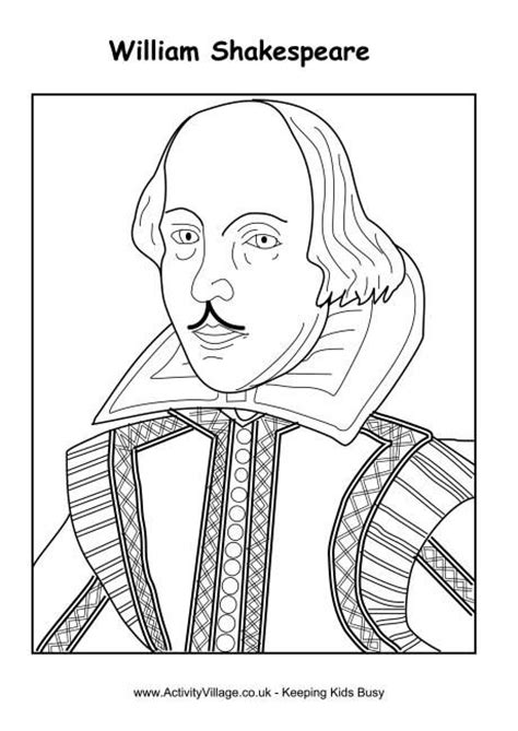 printable art buy william shakespeare colouring page activity printables