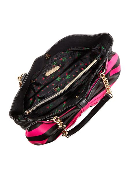 Flower Pocket Outer B1251 betsey johnson bow tails striped bow satchel bag in pink lyst