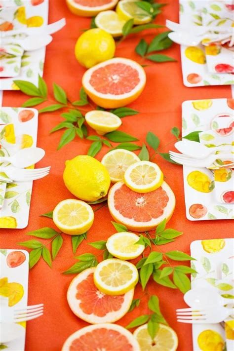 summer party ideas citrus themed decor summer of citrus diy party tablescape 2569619