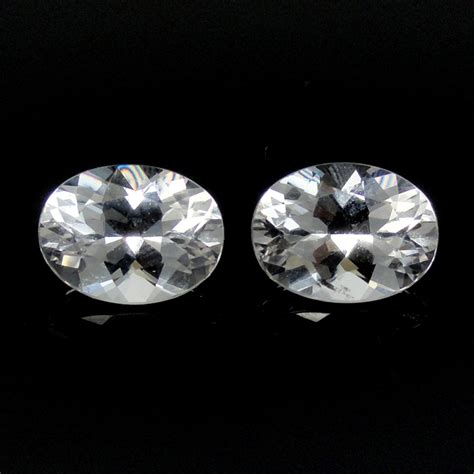Tpz021 Pair White Brazil Topaz Oval 8 X 6 Mm 318 Ct danburite oval 10x8mm matched pair approximately 4 8 carat