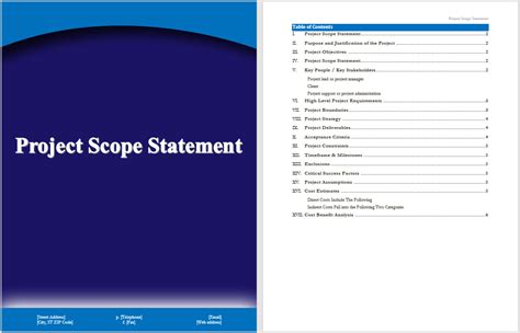 Project Scope Statement Template Microsoft Word Templates Scope Statement Template