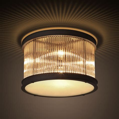 designer 5 light drum shaped flush mount glass ceiling light