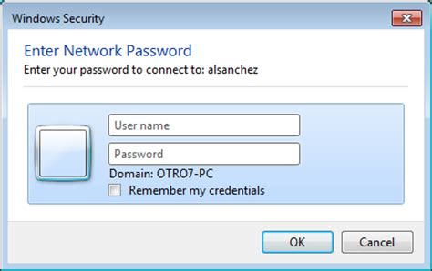 windows 7 windows security enter network password
