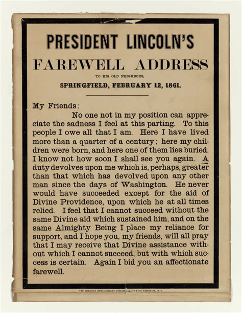 speech from abraham lincoln abraham lincoln s farewell address