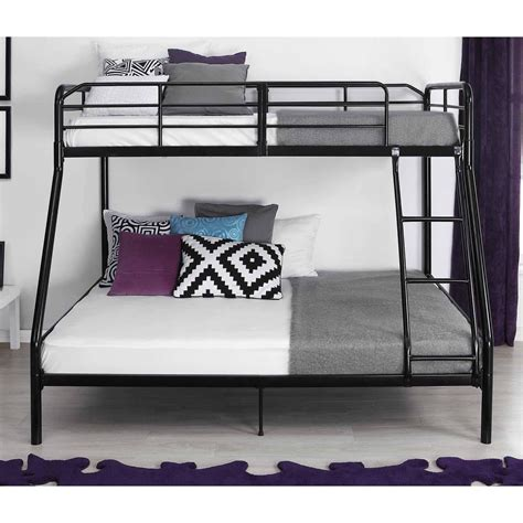 twin over double bunk bed twin over full metal bunk bed w ladder kids bedroom