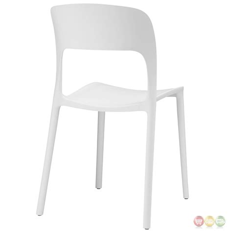 hop modern stackable plastic dining side chair white