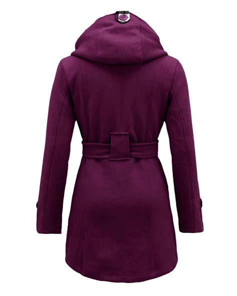 Pocket Parka Wd Var Outerwear Wanita sleeves hooded button waist belt fleece