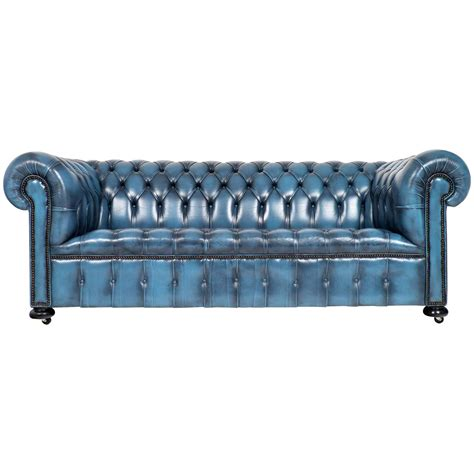 Blue Chesterfield Leather Sofa Vintage Steel Blue Leather Chesterfield Sofa At 1stdibs
