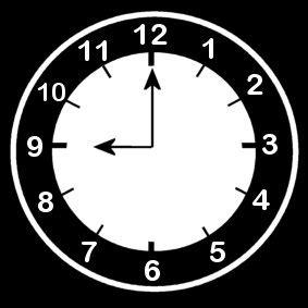 disegno da colorare orologio ore 9 cat. 14213.