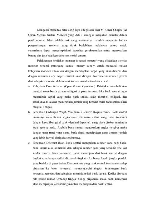 Islam Dan Pembangunan Ekonomi Umer Chapra makalah kebijakan moneter islami