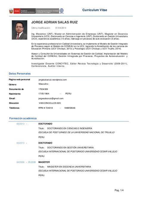 Modelo Curricular Peruano Cv Jorge Salas Ruiz