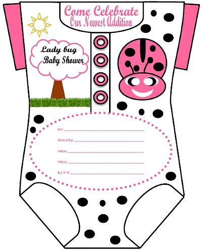 Girls Onesie Baby Shower Invitations For Girls Free Printable Ladybug Baby Shower Invitations Templates