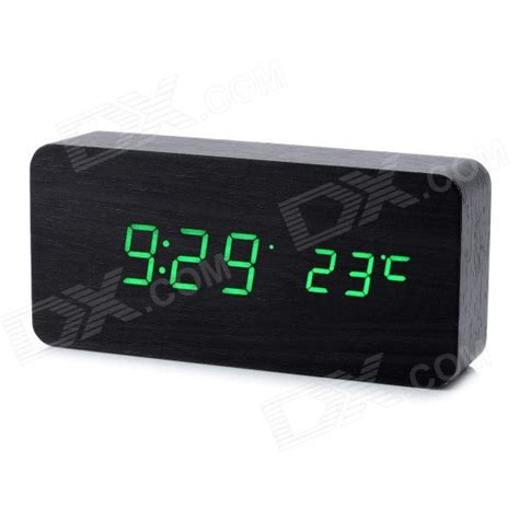 cool wooden desk alarm clock w temperature display black 4 x aaa free shipping dealextreme