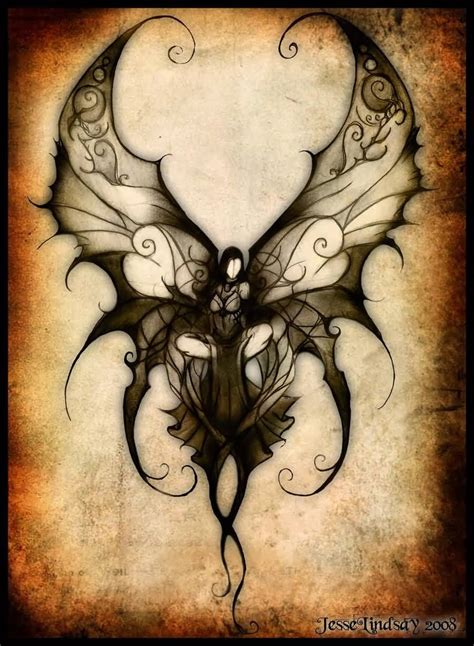 dark fairy tattoo designs attractive on half moon design