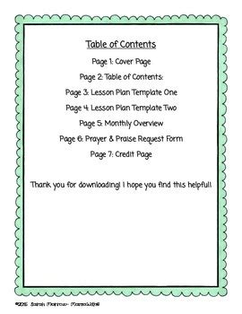 sunday school or bible lesson plan template by social