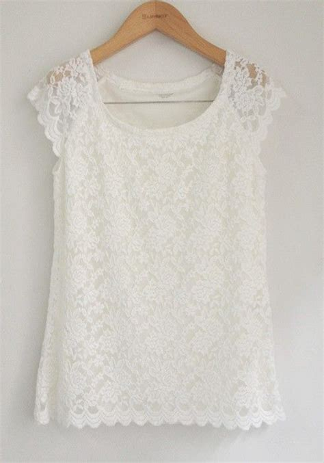 white lace floral collarless short sleeve lace  shirt