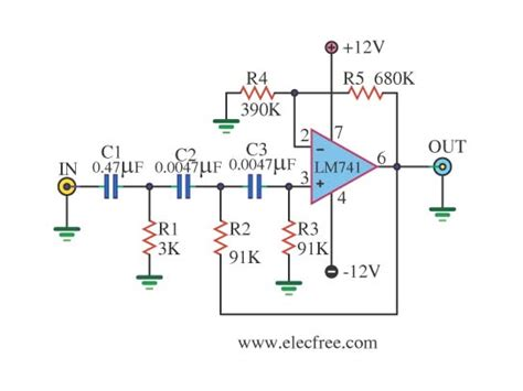 high pass filter using op active high pass filter circuit using lm741 circuit diagram world