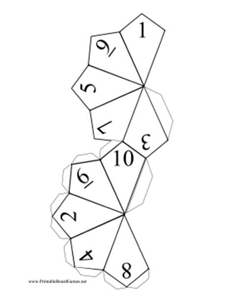 printable 10 sided dice template printable 10 sided die