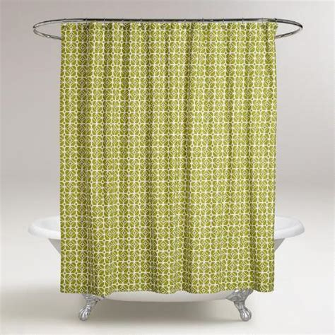geometric shower curtains oasis green geometric shower curtain world market