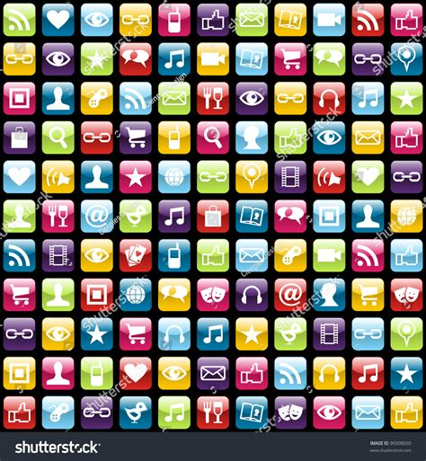 seamless pattern app smartphone app icon set seamless pattern stock