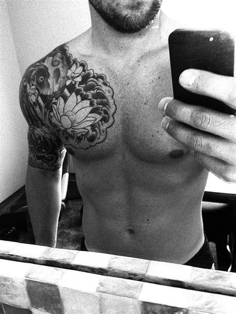 chest half sleeve tattoos