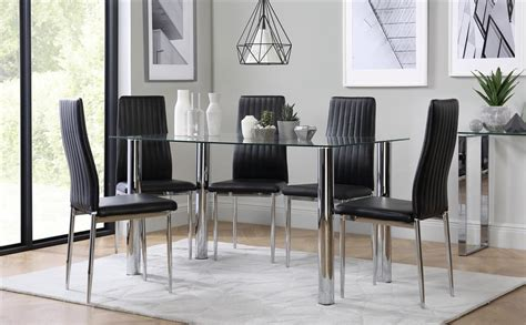 glass dining room tables fresh 3 essential considerations lunar chrome and glass dining table with 4 leon black