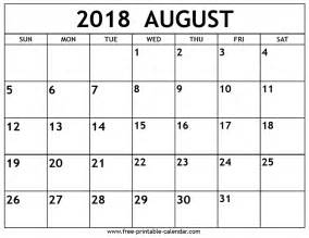 Kalender August 2018 August 2018 Calendar Free Printable Calendar