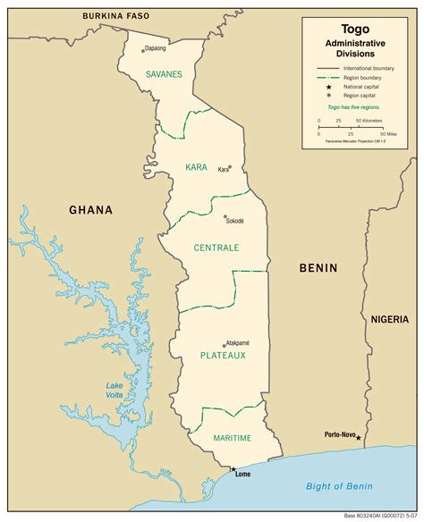 togo on a map togo administrative map with regions capitals