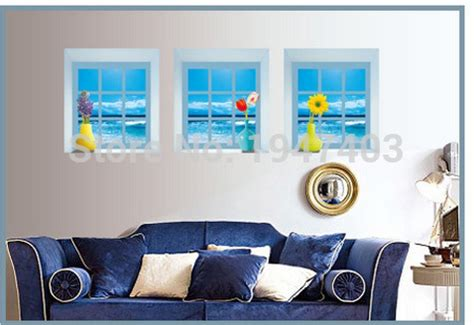 marine home decor marine style windowsill vase 3d simulation removable wall stickers living room tv