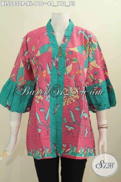 Batik Printing Bahan Halus Model Banyak Btm01011 jual pakaian batik wanita dewasa busana blus berbahan batik printing model lengan balon yang