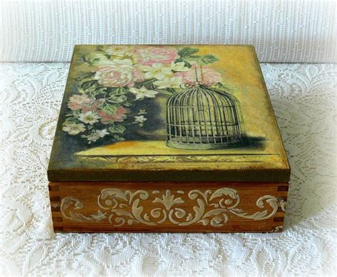 Wooden Decoupage Box - wooden decoupage box large tea box jewelry box wooden tea