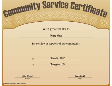 Service Certificate Template Free This Community Service Certificate Expresses Great Thanks