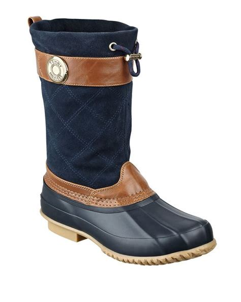 rubber duck boots hilfiger arcadia suede and rubber duck boots in blue