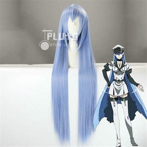 Wig Smoke Blue akame ga kill esdeath cos wig smoke blue 100cm anime synthetic hair pluto p350a in