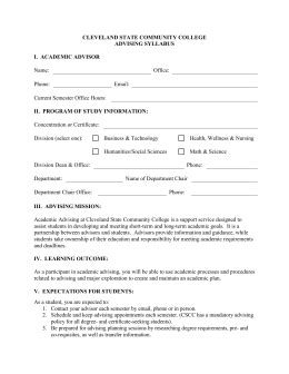 Advising Syllabus Template Academic Advising Form Template