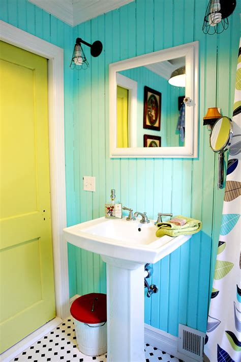 design sponge bathrooms before after two colorful salvage style bathrooms